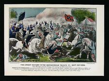 Currier & Ives Civil War Print Cavalry Battle of Shenandoah Valley Opequan Creek