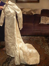 Vintage Wedding Dress, Ivory Colored Emboidered Satin with Pearl Beads
