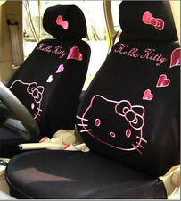 Universal Black Kitty Car Seat Covers Front Rear Cover Accessory Set 10Pcs