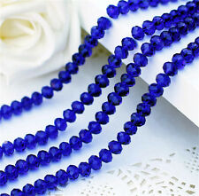 DIY Jewelry Faceted 100pcs # 5040 3x4mm Rondelle Glass Crystal Beads Blue