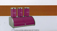 4Pc  Stainless Steel Bread Bin With Sugar Tea Coffee Pot Jar Canister New