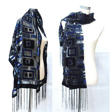 Blue Rectangle Striped Velvet Winter Shawl Women Scarf Pashmina Dress For Lady