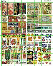 N034 DAVE'S DECALS ASST'D GAS/OIL SEAFOOD SODAS TOBACCO CIGARS BUILDING SIGNS