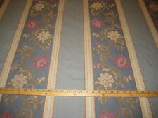 """BLUE FLORAL STRIPED CORD BROCADE 100% COTTON UPHOLSTERY/DRAPERY FABRIC 61"""" W BTY"""