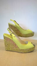 Jimmy Choo stunning Yellow Real Leather  Wedges Size UK 5.5 Eur 38.5