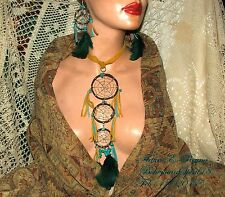 Artisan Arturo E.Reyna DREAMCATCHER LEATHER TURQUOISE FEATHERS NECKLACE SET