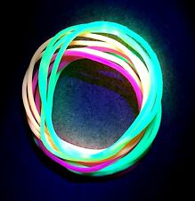 12 x Neon UV Gummy Bangles - Bands Jelly Bracelets 80s 80's Fancy Dress Glow