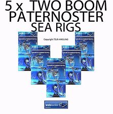 5 x WSB TWO BOOM PATERNOSTER RIGS - SEA FISHING TACKLE - BASS PLAICE POLLOCK ETC