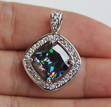 18K White Gold Filled -Vogue MYSTICAL Rainbow Hollow Topaz Square Women Pendant