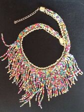Elegant BOHO ACRYLIC MULTI-COLOUR BEAD CHAINLINK NECKLACE PARTY BEACH SUMMER