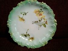 Antique Wheeling Pottery Co. La Belle Hand Painted Green Floral Plate