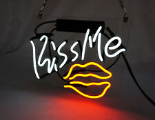"""KISS ME -White Red  Helmet Bar Candy Beer Coffee Neon Light Sign 7.8""""x9.8"""" TN020"""