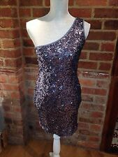 TFNC Grey Sequin One Shoulder Bodycon Lined Dress Size Small