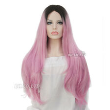 "27"" Ombre Pink Dark Roots Long Curly Straight Wig Synthetic Hair Full Wigs New"