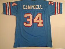 Houston Oilers Earl Campbell UNSIGNED CUSTOM Blue Jersey - Large