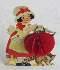 Cat with Red Honeycomb Stand Up  Vintage Valentine