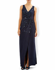 New MONSOON Pasha Navy Blue Sequin Maxi Evening Dress Size 14 BNWT £99