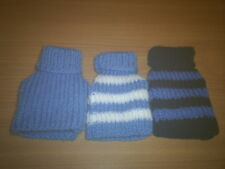 "SAVER SET 3  XXS  4"" HAND KNITTED DOG COAT BLUES TEACUP CHIHUAHUA/ YORKIE PUPS"