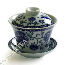 130ml Chinese JingDe GongFu Tea Porcelain Peony Flower Gaiwan Teacup Tea Cup