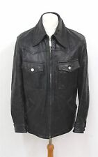 DOLCE & GABBANA Men's Black Long Sleeve Collared Leather Jacket Approx. L