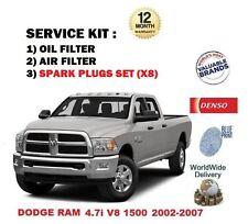 FOR DODGE RAM 4.7 1500 V8 2002-2007 OIL AIR FILTER + 8 SPARK PLUGS SERVICE KIT