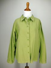 XL Womens LANDS' END Shirt Jacket Chartreuse Green No Wale Corduroy