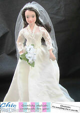Kate Middleton porcelain doll Royal bride in wedding dress before the royal baby