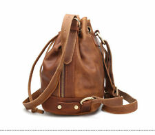 Hot Retro Women Genuine Leather Drawstring Bucket Shoulder Bag Backpack Satchel