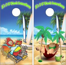 Beach Parrot Man Hammock It's 5 Oclock Somewhere Cornhole Game Decal Wraps
