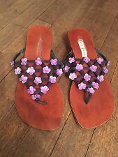 SIZE 5 EU 38 LEATHER FLAT SANDALS & LILAC FLOWER SEQUINS SUMMER/TOWIE/HOLIDAY
