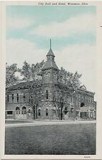 Ohio Postcard Old WAUSEON City Hall Building and HOTEL