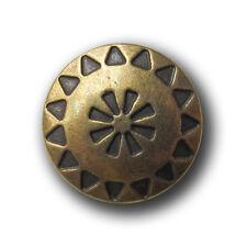 5 messingfarb. Ösen Metall Knöpfe mit Ethno Muster in Antik-Optik (1089me-18mm)