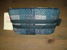 NEW £52 QUICKSILVER BLUE CHECK WOVEN TOILETRY BAG +PURSE SET -BNWT