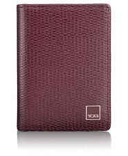 NEW TUMI MEN'S MONACO LEATHER RFID PROTECTED GUSSETED CARD CASE ID WALLET MERLOT