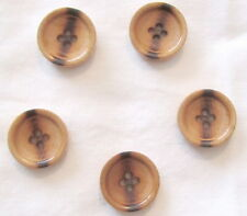 Set of 5 -Stunning Solid Natural WOOD Wooden 4-Hole Burn Accent 23mm BUTTONS