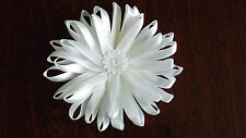 UK-Large,White - Satin Ribbon Flowers-  Appliques,Trimmings ,Wedding- 90mm x 1