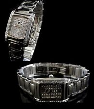 Ladies Women's Word On Design Silver Square Diamond Simulate Watch+Metal Band