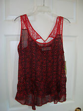 Selena Gomez Dream Out Loud Red Design Sheer Asymmetrical Lace Junior Top XL NEW
