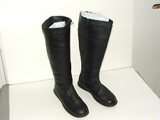 DRESSBARN SILHOUETTES Black Tall Boots 8W Tall Knee High Leather Uppers