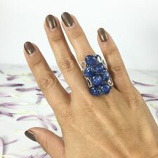 14K White Gold Cabochon Natural Kyanite Blue Sapphire and Diamond Cocktail Ring