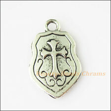 6Pcs Antiqued Silver Weapon Arms Warrior Cross Shield Charms Pendant 14.5x23.5mm