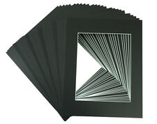 Pack of 25 11x14 BLACK Picture Mats with White Core for 8x10 +Backing +Bags