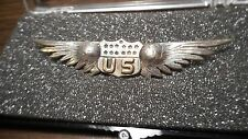WW1 Rare US Army Pilots Wing Badge Insignia Sterling Silver Hall Mark Lebrve