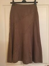 Gorgeous M&S Size 8 Long Brown Skirt. Very Smart Embroidered Panels
