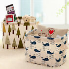 Linen Desk Storage Box Holder Jewelry Cosmetic Stationery Organizer Case New