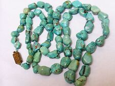 VINTAGE  CHINESE NATURAL TURQUOISE BEADED NECKLACE, 69grams