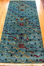 Oriental Tibetan Tiger printed 130 handknot 36x72 traditional rectangle wool rug