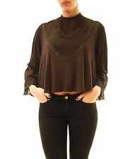 Free People Women's Embroidered Blouse Long Sleeve Brown Size XS RRP £88 BCF612