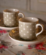 Greengate Espresso Cup and Saucer Beige Spot
