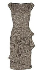 Karen Millen Brand New Tweed Business Frill Detail Dress UK 12